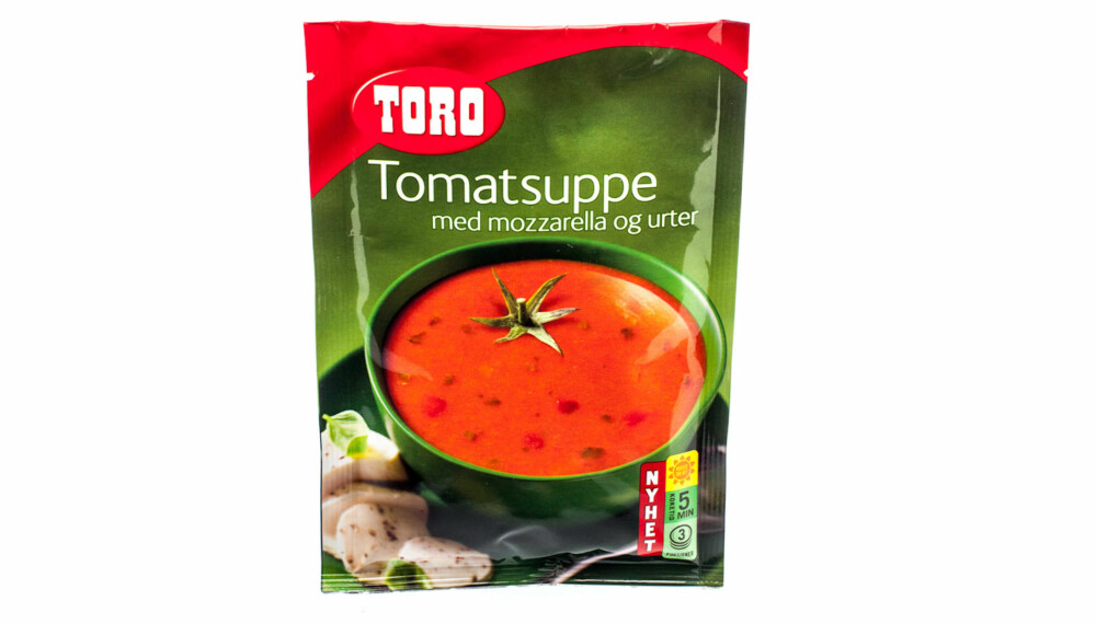TEST AV TOMATSUPPE: Toro Tomatsuppe med mozzarella og urter.