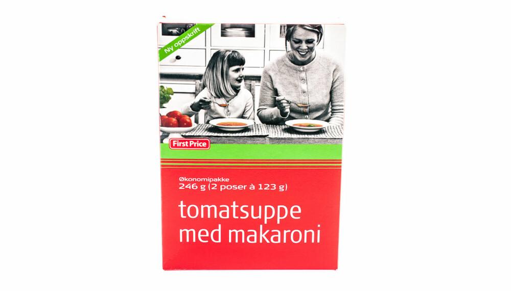 TEST AV TOMATSUPPE: First Price Tomatsuppe med makaroni.