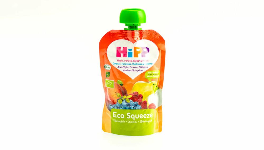 TEST AV FRUKTMOS/SMOOTHIE: Hipp Eco Squeeze med Eple, fersken, blåbær og bringebær