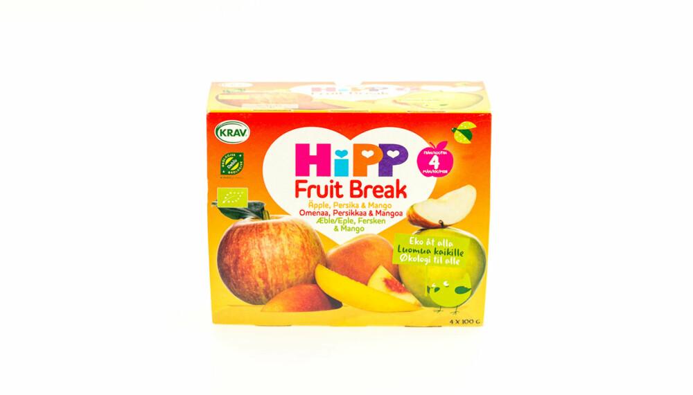 TEST AV FRUKTMOS OG SMOOTHIE: Fruit Break (eple, fersken og mango).