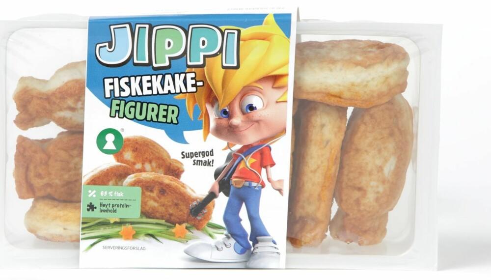 FOR UNGA: Jippi retter seg mot barn. Fiskefigurene inneholder 57 prosent fisk, en blanding av hyse og hvitlaks.