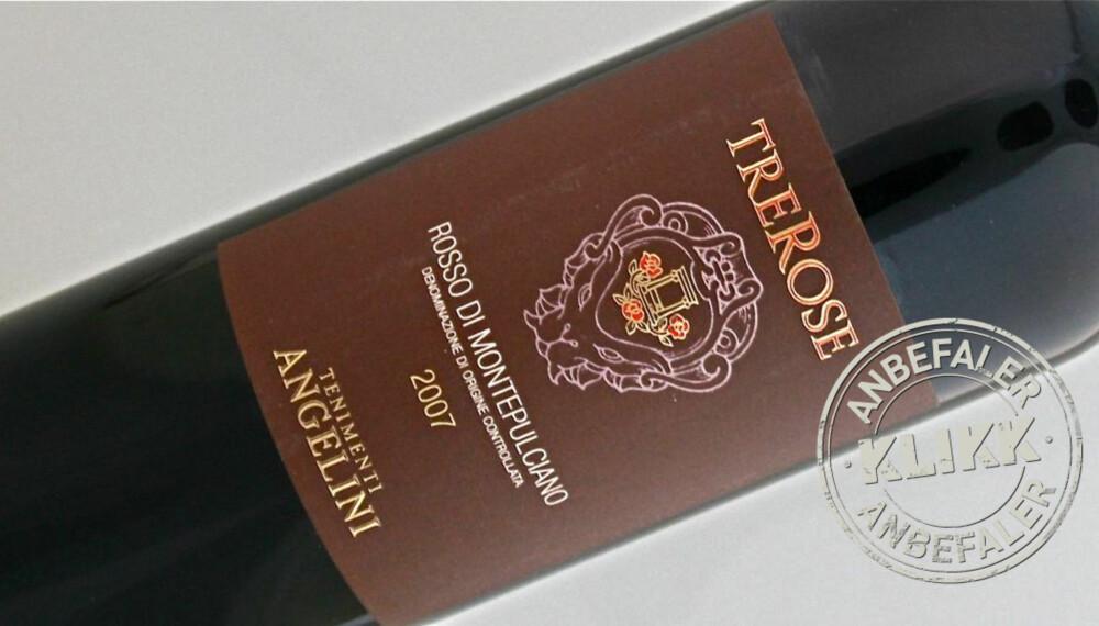 TYPISK: TreRose Rosso di Montepulciano er en typisk eksponent for Toscana og sangiovese-druen.