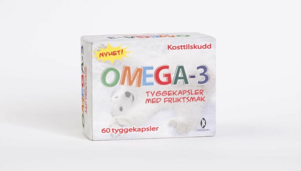 FISKEOLJE/OMEGA-3: Omega-3 barn tyggekapsler med fruktsmak