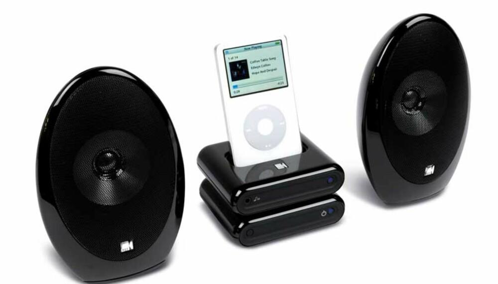 KVALITET: Det lover godt når KEF setter logoen sin på et par slike små iPod-høyttalere.