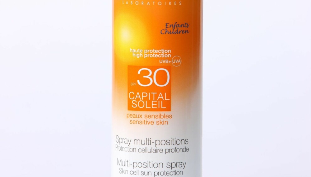 TEST AV SOLKREM: Vichy Capital soleil barn multiposition spray, faktor 30