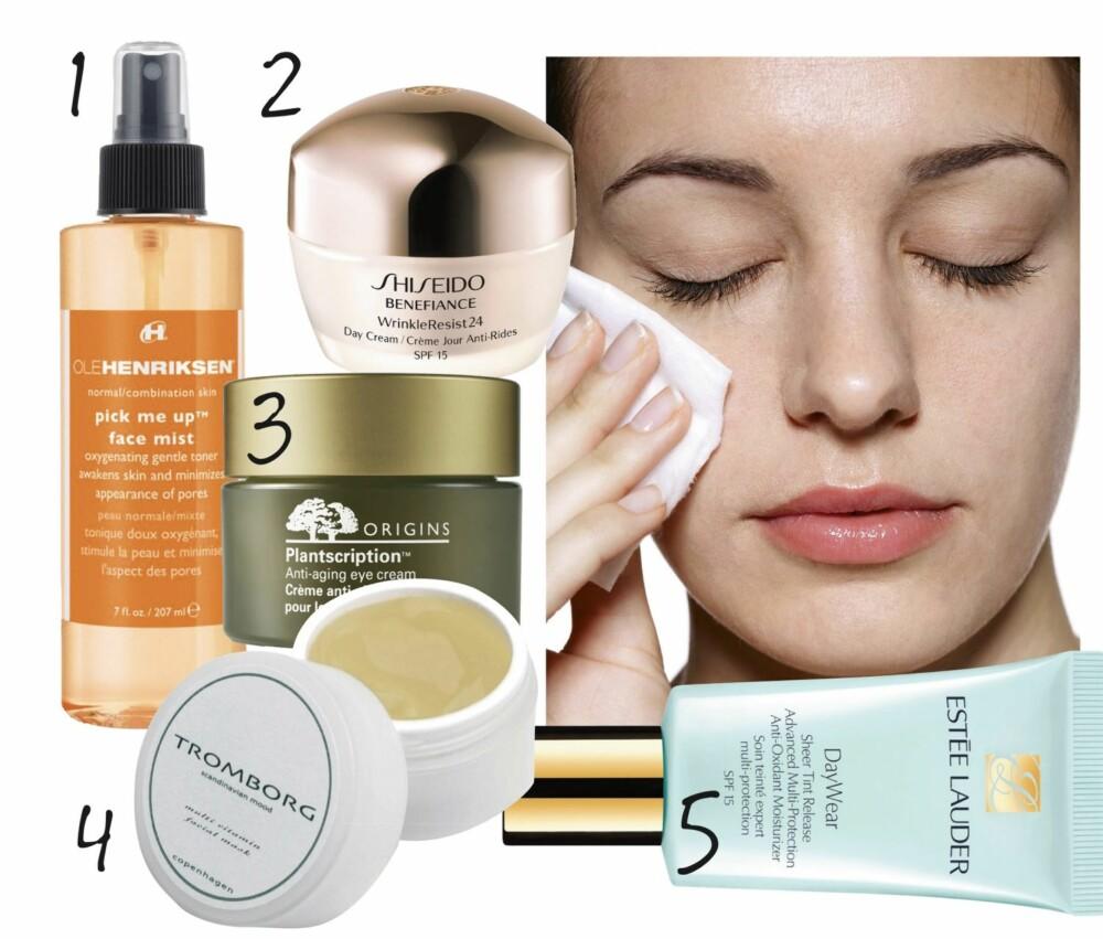 NORMAL HUDTYPE: 1. Ansiktsspray som minimerer porer. Pick Me Up Face Mist fra Ole Henriksen, kr 199,- 2. Antialdringskrem som beskytter mot UV-stråling. Benefiance Wrinkle Resist 24 Day Cream fra Shiseido, kr 639,- 3. Antialdringsøyekrem fra Origins, kr 410,- 4. Fuktighetsmaske Multi Vitamin Facial Mask fra Tromborg, kr 260,- 5. Farget fuktighetskrem Dayewear Sheer Tint Release fra Estée Lauder, kr 455,-