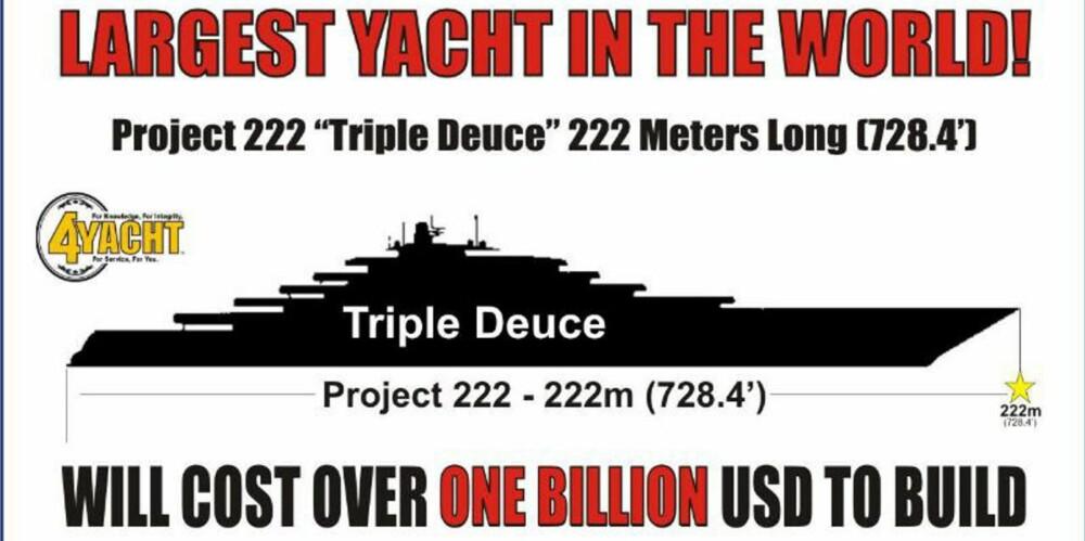 """STØRST: """"""""Triple Deuce"""""""" skal bli verdens største og dyreste yacht ifølge megleren 4Yacht i Florida."""