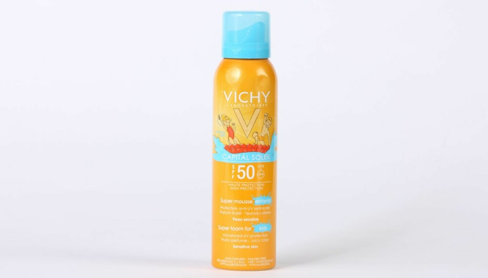 TEST AV SOLKREM FOR BARN: Vichy capital soleil super mousse for enfants and kids.
