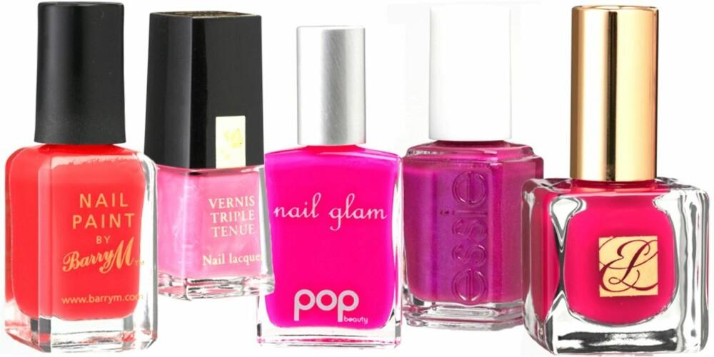 FRA VENSTRE: Barry M, Neon Pink (kr 140), Lancôme (kr 185), Pop Beauty, Nail Glam Pinky (kr 85), Essie, jewel nr. 515 (kr 149), Esteè Lauder Pure Color in Fuschia (kr 175)