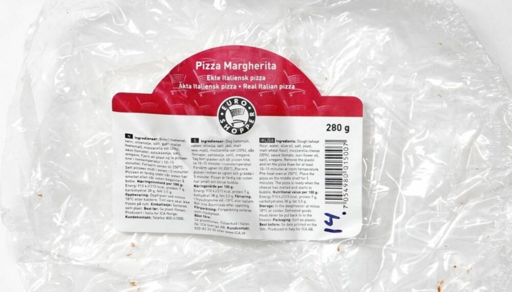 UTEN KJØTT: Euroshoppers Pizza Margherita.