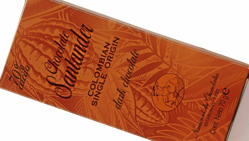 HASSELNØTTER: Santander Colombian single origin 70 prosent er en sjokolade som har en litt spesiell smak av hasselnøtt-essens.