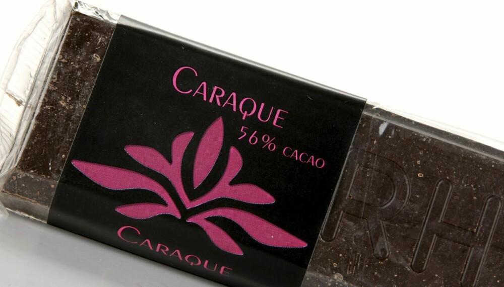 SØT OG GOD: Valrhona Caraque 56 prosent er en sjokolade som smaker godt og søtt.