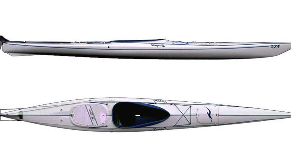 Bildet er av en VKV Offshore Fischer Edition som er 3 cm smalere enn den testede kajakken. For øvrig er de identiske.