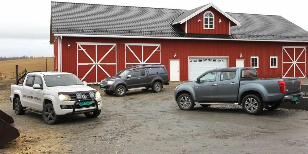 KONKURRENTENE: Volkswagen Amarok, Toyota Hilux og Isuzu D-Max blir Mitsubishi L200's argeste konkurrenter.
