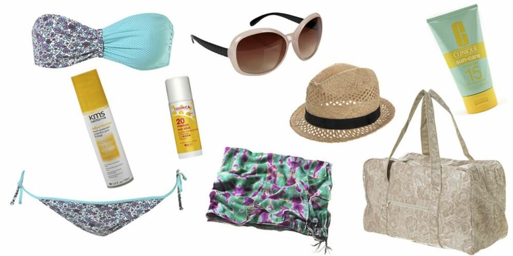 FRA VENSTRE: Bikini fra Topshop (kr 236), KMS California Solperfection Beach Protection (kr 154), Cosmica sunstick (kr 74), solbrille fra Cubus (kr 79), hatt fra Asos (kr 113), sarong fra H&M (kr 129), Clinique Sun-Care Body Gel (kr 171,50) og veske fra Topshop (kr 330).