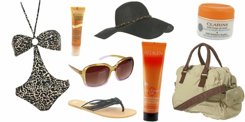 FRA VENSTRE: Badedrakt fra Topshop (kr 264), Biotherm Sun Radiance Crystal Gloss Extreme Shine (kr 143), solbrille fra Cubus (kr 99), sandal fra Asos (kr 113), hatt fra Topshop (kr 207), Redken Color Extended Sun Shimmering Defence (kr 219), Clarins SOS Sunburn Soother (kr 257,50) og veske fra Topshop (kr 425).