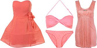 FRA VENSTRE: Kjole fra Topshop (kr 715), bikini fra Cubus (kr 99 per del), topp fra Bik Bok (kr 249).