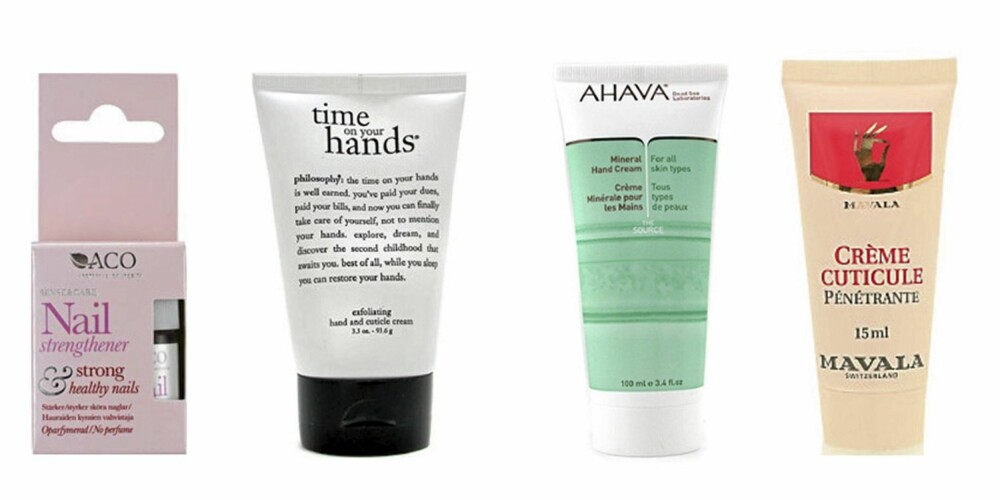 FRA VENSTRE: Aco Nail Strengthener (kr 64), Philosophy Exfoliating Hand and Cuticle Cream (kr 157), Ahava Mineral Hand Cream (kr 142) og Mavala Nail Cuticle Cream (kr 95).