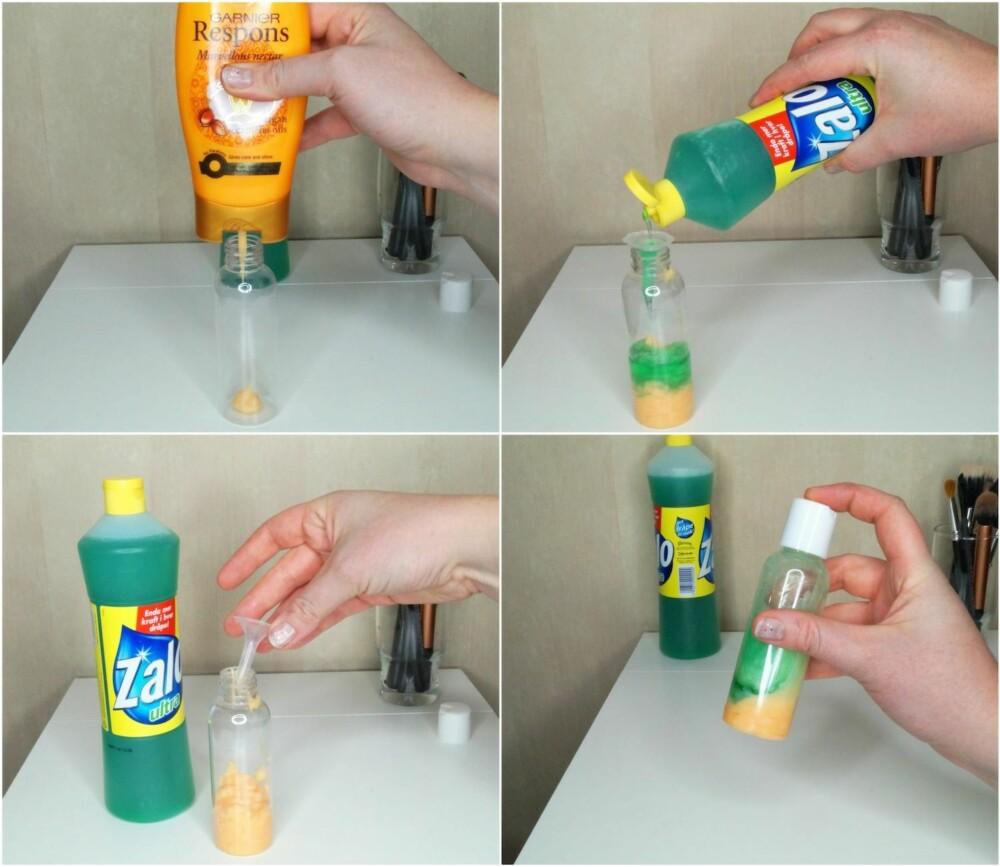 FREMGANGSMÅTE: Hell like deler med balsam og håndoppvaskmiddel over i en reiseflaske, og bland godt.