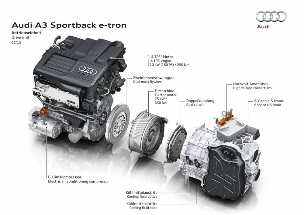 Avansert: Bensinmotor, elmotor og girkasse er en kompakt enhet i motorrommet.