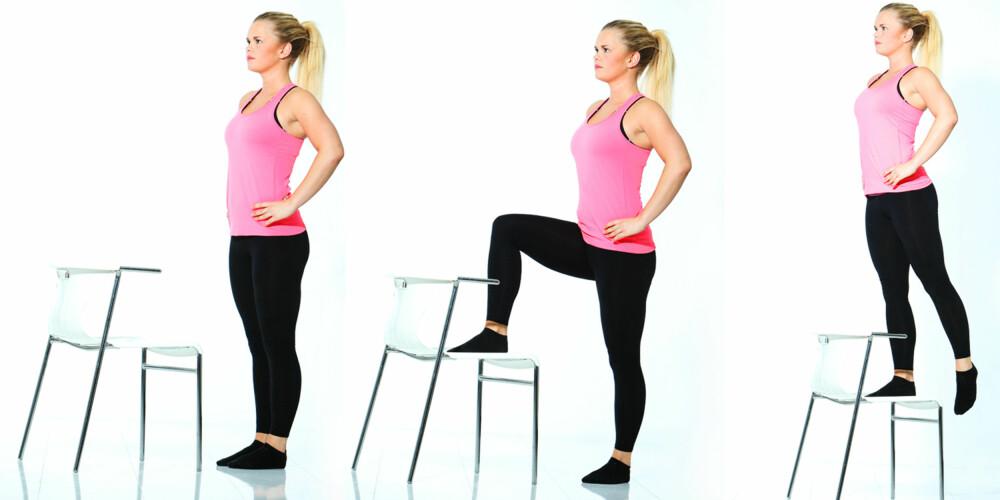 STEP-UP: Denne øvelsen er enkel og effektiv. Du trener både rumpe, lår og legger. FOTO: Rolf Ørjan Høgset