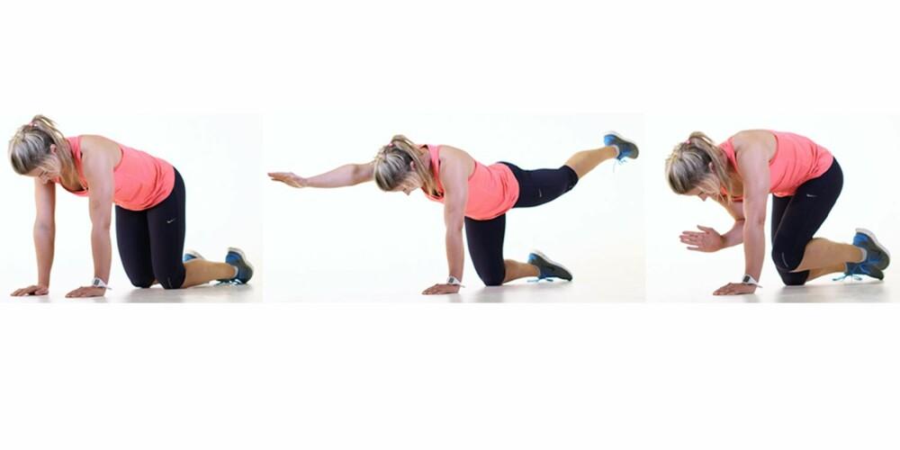 I TRE STEG: Øvelsen er enkel å utføre. Her viser Katrine den i tre steg.