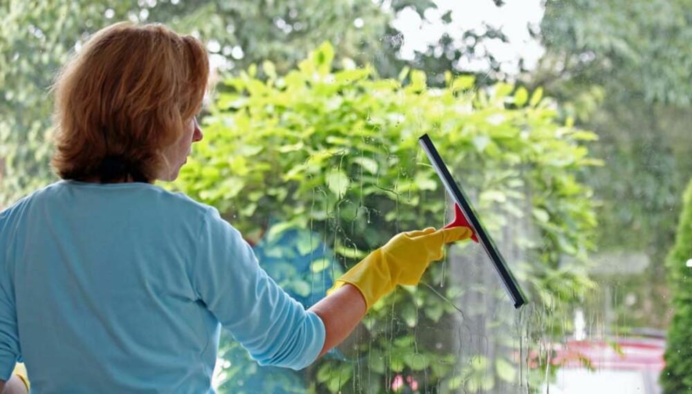 RENGJØRINGSALTERNATIVER: Rengjøring uten rengjøringsmidler er fullt mulig. En sprayflaske med uttynnet eddik fungerer for eksempel bra til vindusvask.