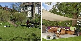 FØR OG ETTER: Her er uteplassen før og etter landskapsarkitekten har gjort sitt.