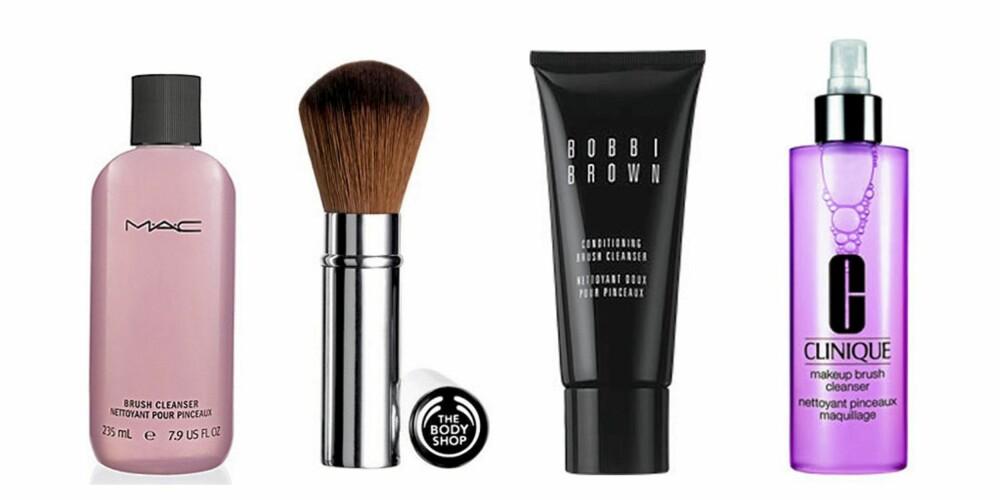 FRA VENSTRE: Mac Brush Cleanser (kr 74), The Body Shop Retractable Blusher Brush (kr 110), Bobbi Brown Conditioning Brush Cleanser (kr 92) og Clinique Makeup Brush Cleanser (kr 102).