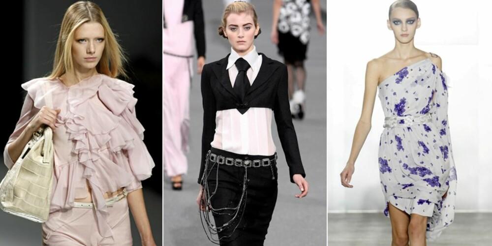 VÅRMOTEN: Sara Melinda tror vi kommer til å kle oss i beige og naturlige farger, i tillegg til svart og hvitt til våren. Blomstermønster vil også være en stor hit. Her fra Elie Saab, Chanel og Temperley sine visninger.