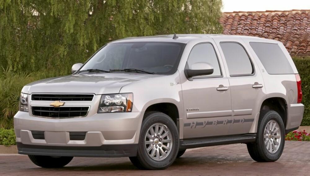 STOR HYBRID: Chevrolet Tahoe er en av de største hybridbilene tilgjengelig. Om den er veldig miljøvennlig er en annen sak...