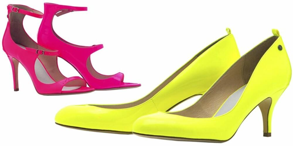 SKO: Rosa høyhælte sko fra Diesel, kr 1199. Gule lakkpumps fra Diesel, kr 1299.