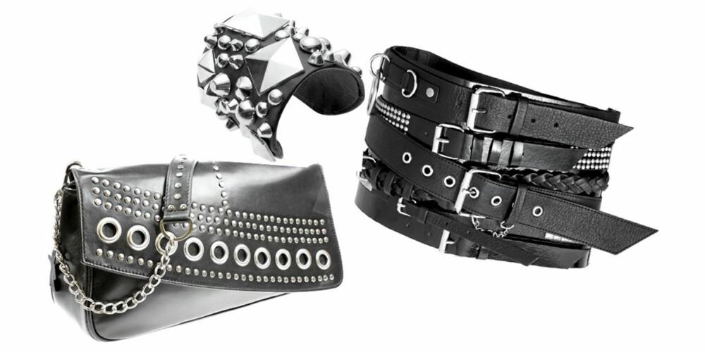 NAGLER: Veske fra Fancy Fanny, kr 650. Armbånd fra H&M, kr 199. Belte fra H&M, kr 399.