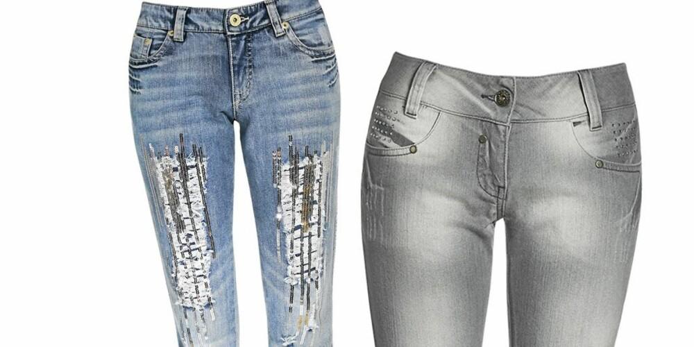 PALJETTER OG PYNT: Fra venstre: Bukse fra KappAhl med paljettdekor på lår, kr 499. Bukse fra KappAhl med dekor på lommer, kr 499.