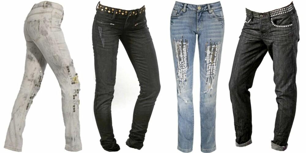 FRA VENSTRE: Asos (kr 371), Joe's Jeans (kr 1134), KappAhl (kr 549), Genetic Denim (kr 1444).