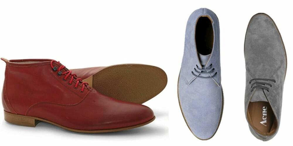 URBAN: Røde sko fra Bobbie Burns, kr 1499. Lyseblå semskede eller lysegrå semskede sko, begge fra Acne ca kr 1900 per par.