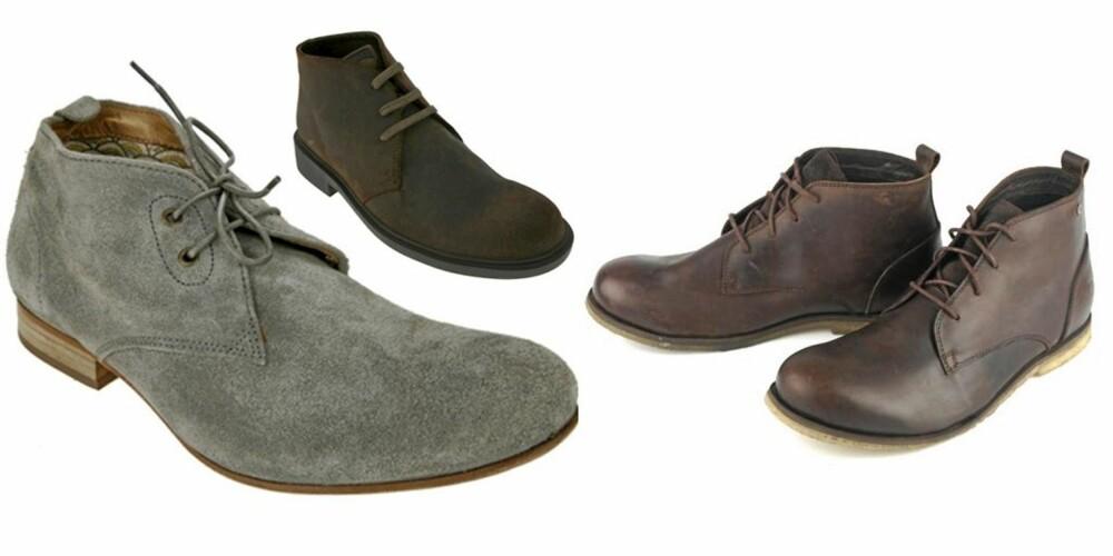 TRENDY: Grå semsket sko fra Hudson, kr 1598. Mørk brune sko fra Camper, kr 1498. Brune sko med slitte detaljer fra Bjørn Borg, kr 999.