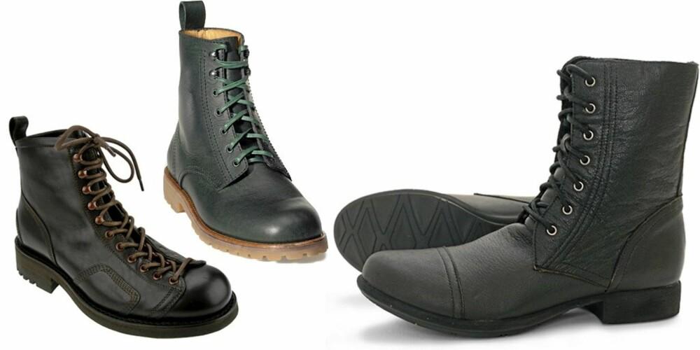 MED SNØRING: Fra venstre: Jean Baptiste Rautureaux, kr 3300. Grønne grungeinspirerte sko fra Acne, ca kr 1900. Svarte fra Bobbie Burns, kr 1199.