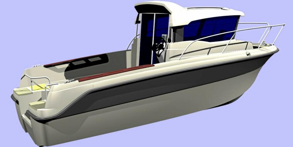 STORT AKTERDEKK: 4,5 m2 plass på bakdekket gjør båten egnet til fiske og andre aktiviteter. Utvendig styreposisjon er ekstrautstyr.