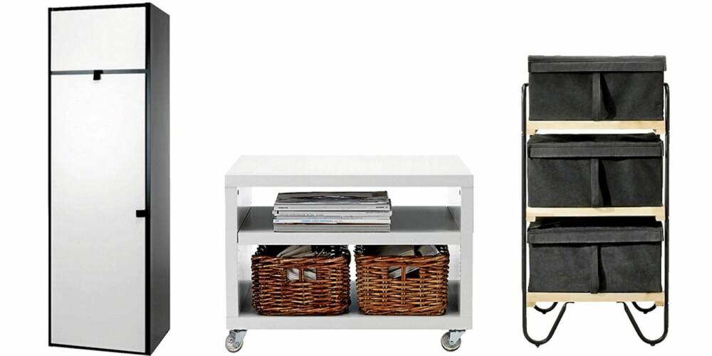 LAVBUDSJETT: Garderobeskapet Odda fra Ikea, kr. 1395. Nattbordet Odda fra Ikea, kr 295. Hyllen Bodø med 3 skuffer fra Ikea, kr. 250.
