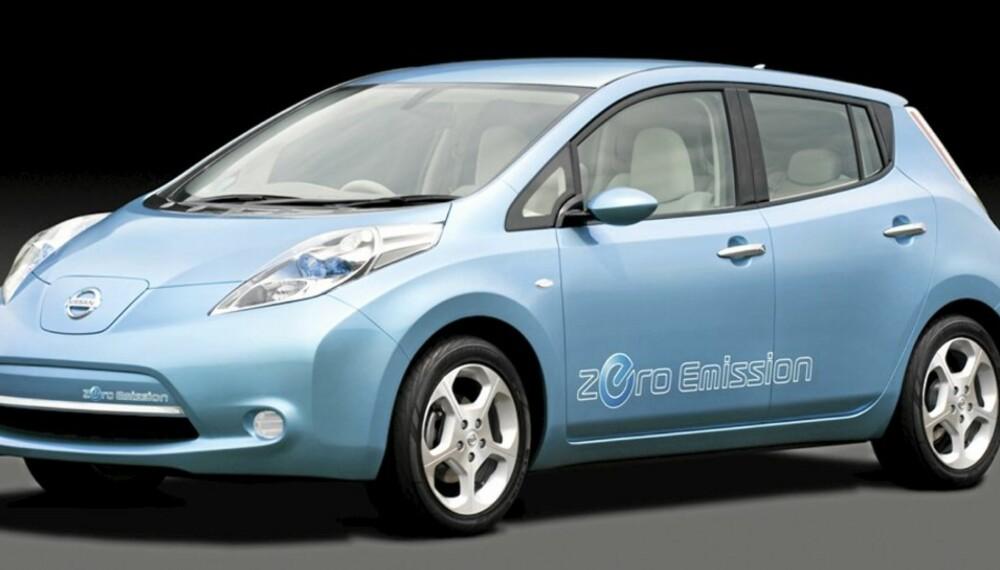 NISSANS EL-GOLF: Her er Nissan Leaf, en vaskekte familie-elbil, og den er lovet på markedet allerede mot slutten av 2010.