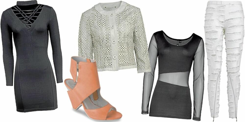 FRA VENSTRE: Kjole med hullmønster fra Bik Bok (kr 299), sko fra Bronx (kr 960), skinnjakke fra Ricco Vero (kr 2999), topp fra H&M (kr 149), hvite opprevne jeans fra TSH (kr 7000).