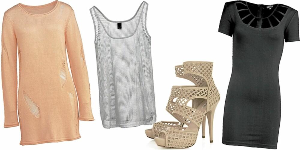 FRA VENSTRE: Genser med hullmønster fra Gina Tricot (kr 249), nettingtrøye fra Vila (kr 199,95), sko fra Miu Miu (kr 4600), kjole med hullmønster fra Bik Bok (kr 299).