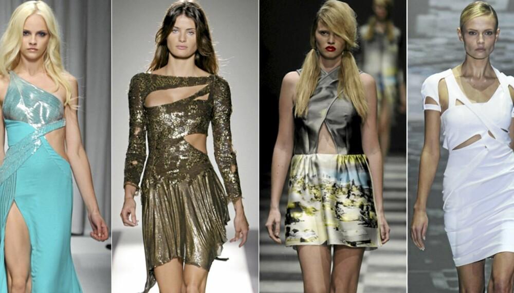 PÅ CATWALKEN: Versace, Balmain, Prada og Gucci viste alle frem klær med hullmønster på catwalken.