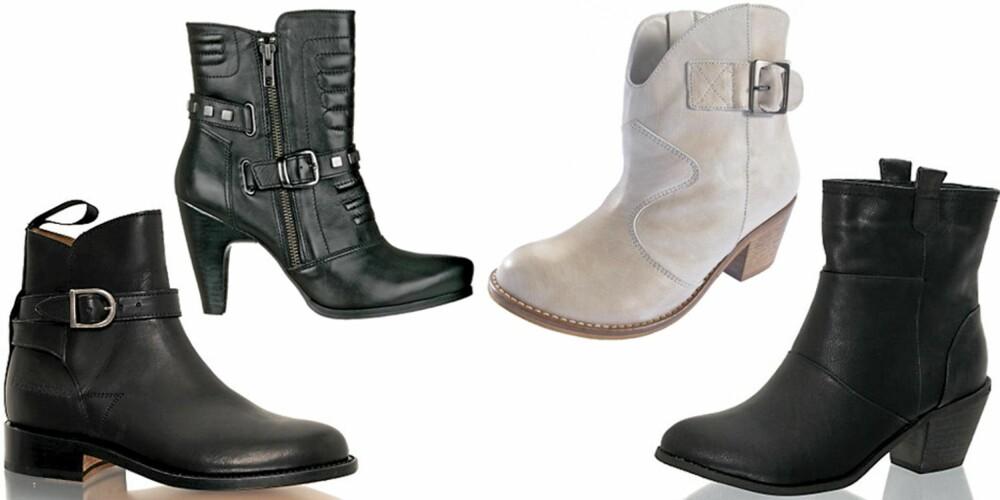 FRA VENSTRE: Primeboots (kr 1995), Din Sko (kr 699), La Redoute (kr 1149), Nelly Shoes (kr 279).