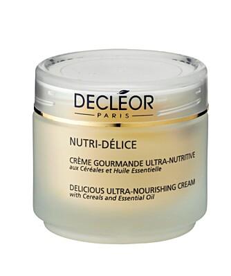 TØRR HUD TRENGER FETT: Decléor Nutri-delice ultra nourishing cream gir tilfører huden mye fettstoffer i tillegg til fuktighet. Kr 565.