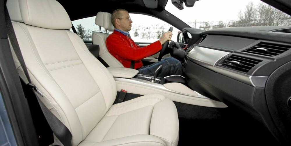 INTERIØR: Bayerne er normalt sett olympiske mestere når det gjelder å gjemme meter og kilo bak føreren, nesten uansett hvor svær bilen er.