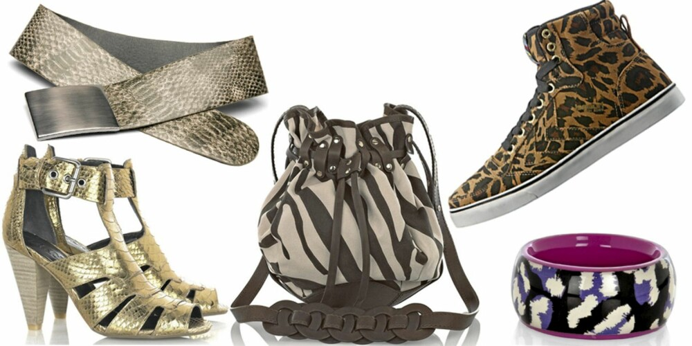 FRA VENSTRE: Sko fra DKNY (kr 2335), belte fra Mango (kr 229), veske fra Temperley London (kr 3530), sko fra Hummel for Bianco (kr 900), armbånd fra Marc by Marc Jacobs (kr 672).