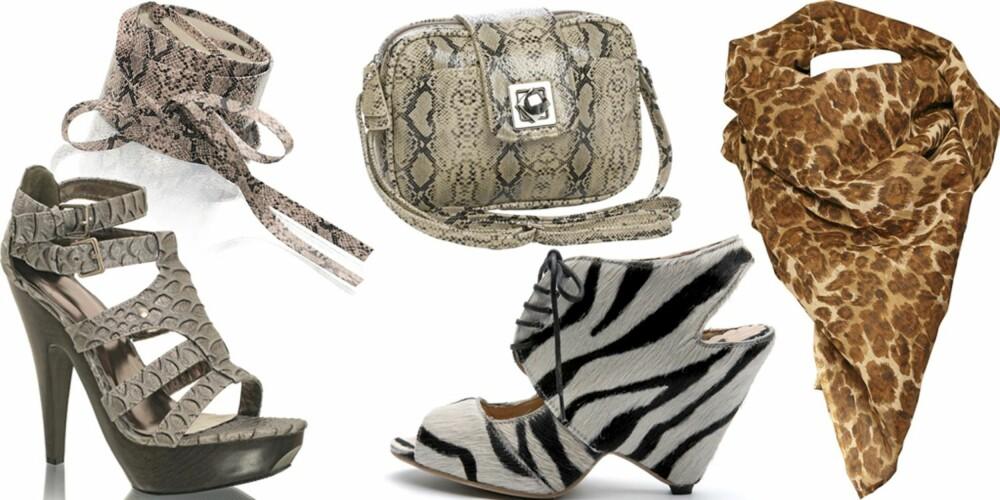 FRA VENSTRE: Sko fra Nelly Shoes (kr 349), belte fra Nelly Accessories (kr 199), vekse fra Accessorize (kr 259), sko fra Mango (kr 999), skjerf fra Friis & Co (kr 249).