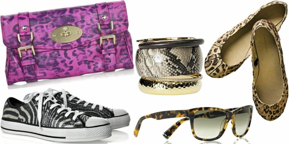 FRA VENSTRE: Sko fra Converse (kr 500), veske fra Mulberry (kr 4727), 5 pk. armbånd fra H&M (kr 69,50), solbriller fra Michael Kors (kr 1270), sko fra H&M (kr 129).